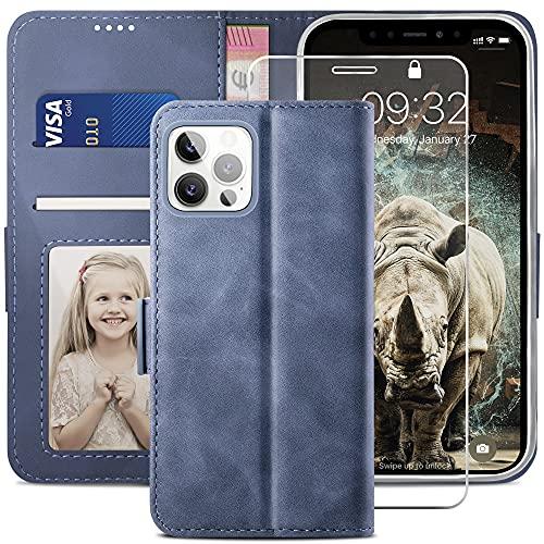 YATWIN Cover Compatibile con iPhone 12 + Vetro Temperato, Flip Custodia Portafoglio in Pelle Premium Slot per iPhone 12 Pro, Supporto Stand e Chiusura Magnetica Case per iPhone 12/12 Pro - Azzurro