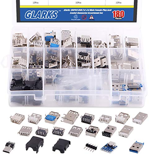 Glarks 180Pcs Micro Sockets USB 2.0 3.0 Type A Male Female Plug Connector Jack Solder USB Repair Replacement Adapter Assortment Set