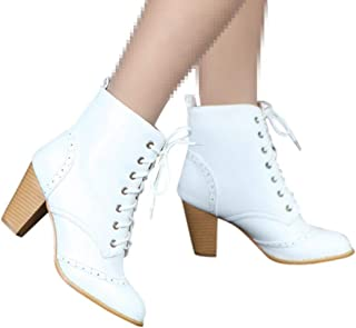 Dainzuy Women'sChunky Heel Ankle Booties Leather Lace Up High Almond Toe Casual Large Size Platform Dress Boots