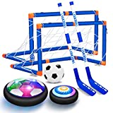 OASO Kids Toys Hover Hockey Soccer Ball Set with 3 Goals, Rechargeable Floating Air Soccer Ball with Led Light and Foam Bumper, Indoor Outdoor Sport Games Toys Gifts for Boys Girls Aged 3 4 5 6 7 8-12