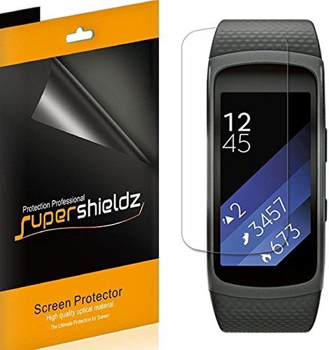 Supershieldz (6 Pack) for Samsung Gear Fit2 (Gear Fit 2) Screen Protector (Full Screen Coverage) Anti Bubble High Definition Clear Shield