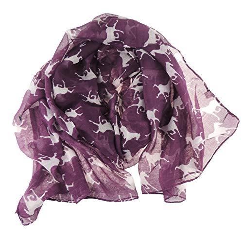 Grote Extra Zachte Dames Paard Silhouette Print Mode Sjaal Sjaal