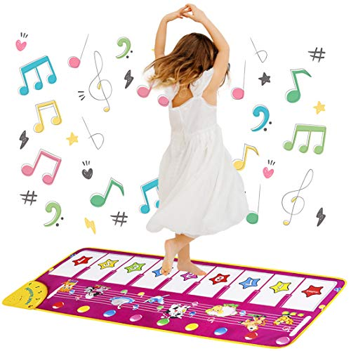 Piano Musical Mat Toys for 2 Year Old Girls, Floor Piano Music Mat Dance Mat for Kids Early Educational Toys for Girls Age 1-3 Birthday Xmas Easter Gifts for 1-3 Year Old Toddlers Baby Girl Boy Purple