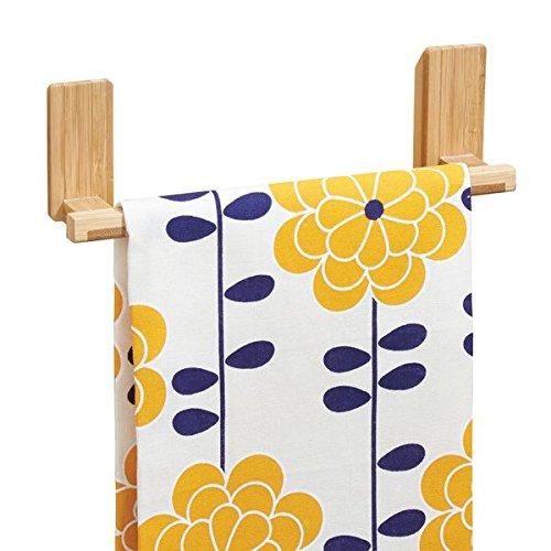 mDesign AFFIXX appendi strofinacci da cucina in bambù – porta asciugamani senza forare muro – appendi strofinacci max. 1,36 kg di portata