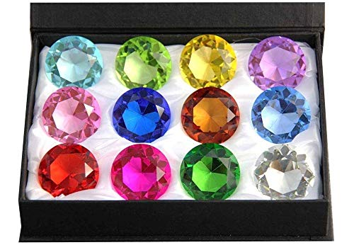 Zoogamo 60mm ダイヤモンド型 マルチカラー ガラス クリスタル ペーパーウェイト 12ピース ホーム オフィス デコレーション 結婚式の装飾 ギフトボックス付き