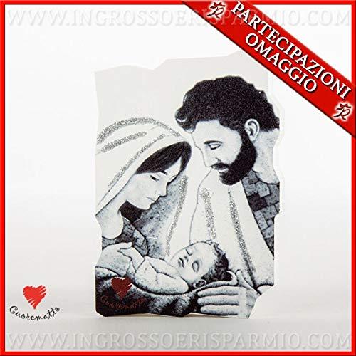 Ingrosso e Risparmio Cuorematto - Icono sagrado de apoyo de madera con sagrada Familia en blanco y negro y purpurina, disponible en 2 tamaños, detalles para bautizo