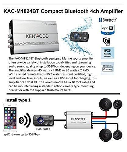 Kenwood KAC-M1824BT Bluetooth Enabled Amplifier with 2 Pair of 6.5 3 Way Speakers KFC-1695PS