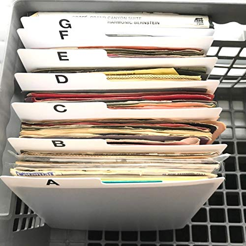 A-Z Horizontal 7-inch (7in.) 45 RPM Vinyl Record Index Dividers Organizational/Jukebox Organizers/Organization A to Z Alphabet Alphabetical Cards