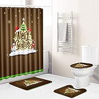 4個のメリークリスマスシャワーカーテン滑り止めの敷物、トイレの蓋のカバー、バスマットと12のフックサンタ雪だるまスノーフレークシャワーカーテンのクリスマスの装飾のためのセット brown-Large