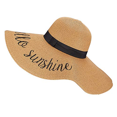 Womens Wide Brim Straw Sun Hat Beach Panama Floppy Foldable Roll up Cap Fedoras Summer UPF50+