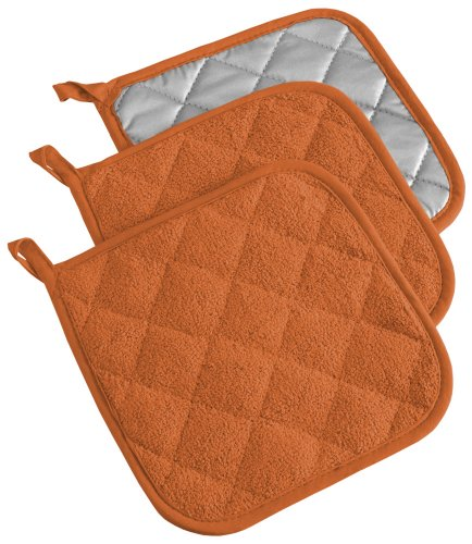 DII 100% Cotton, Quilted Terry Oven Set Machine Washable, Heat Resistant with Hanging Loop, Potholder, Spice 3 Count