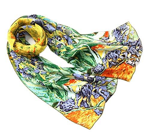 prettystern P841 -longue 160 cm Foulard/Écharpe En 100% Soie Du Tableau les Iris De L´impressioniste Vincent Van Gogh
