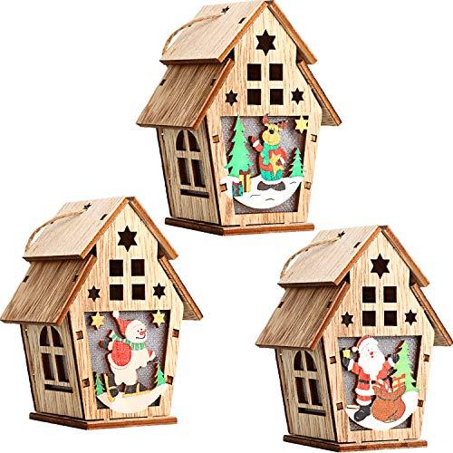 Boao 3 Piezas Navidad LED Casa de Madera Adornos Colgantes de Árbol de Navidad Led Casa de Madera de Navidad para Casa, Fiesta de Año Nuevo Colgante Decoraciones de Navidad Regalo