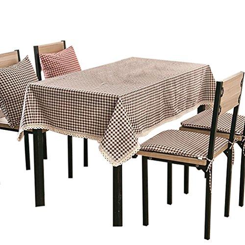 NiSeng Decoration de Table - Nappe de Table en Lin a Carreaux pour Table Rectangulaire, Table Carrée d Table Ronde/Nappes avec Dentelle Anti Taches Café 100x140 cm