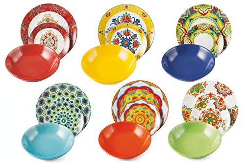 Vajilla de 18 piezas de porcelana y gres Villa d'Este Calamoresca