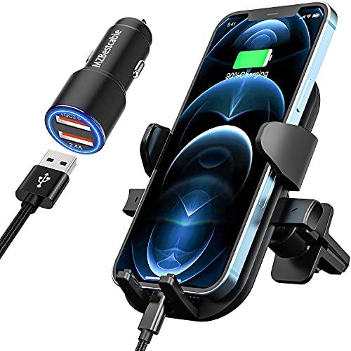 Soporte de teléfono móvil para coche + 30 W cargador iPhone 12...
