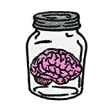 Brain in The Jar Embroidered Iron on Patch Holloween Creative Gift Backpack Deco Pin
