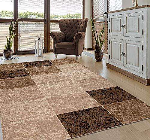 VIMODA Teppich Modern Meliert Kariert Marmor Muster Braun Beige, Maße:80 x 150 cm
