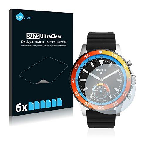 Savvies 6X Schutzfolie kompatibel mit Fossil Q Crewmaster Bildschirmschutz-Folie Ultra-transparent