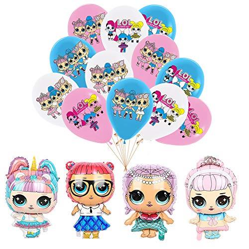 smileh LOL Überraschung Puppen Geburtstag Deko Lol Luftballons Geburtstag Aluminiumfolienballons 16PCS für Kinder Geburtstagsfeier Dekorationen