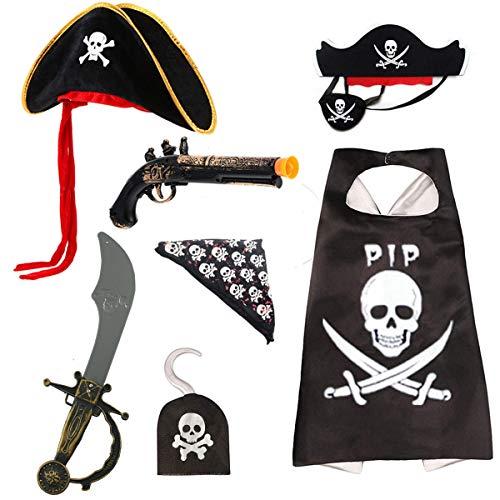 Ecloud Shop Set di Costumi da Pirata - Cappello da Mantello Bandana da Pirata Benda sull'occhio con Maschera in Feltro Spada Gancio per Pistola Pirata Cosplay per Bambini per Halloween (7 Pezzi)