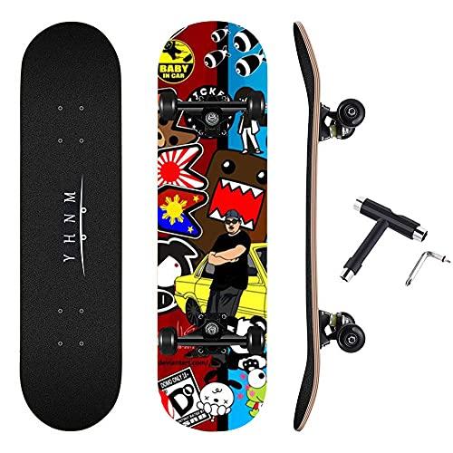 REWE Completo Skateboard para Principiantes,Tablero de Arce 7 Pisos,Soporte para camión CX4,Longboard edición Especial Tabla Completa Tabla Skate Arce Cruiser Adultos niños y Adolescentes Regalo