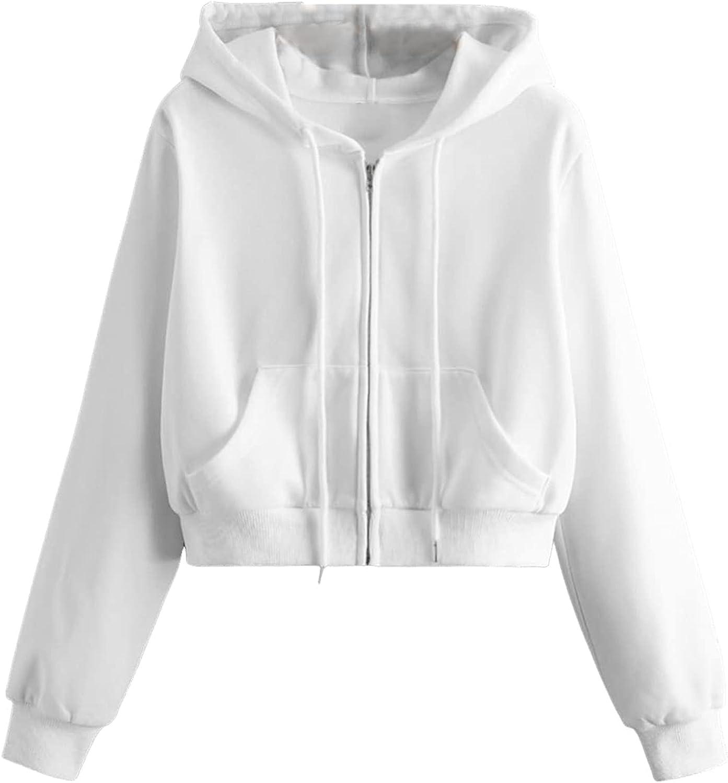 ROMWE Women's Casual Zipper Front Long Sleeve Solid Pocket Hoodie Sweatshirt Jacket