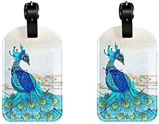 Peacock PeafowlLeather Luggage Tags Suitcase Labels Bag Travel ID Bag Tag, 1 Pcs