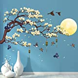 RW-1005 White Magnolia Tree Branch Flying Birds Wall Stickers Peel and Stick 3D DIY Moon Wall Decals Removable Wind Chimes Art Wall Murals for Kids Offices Home Walls Bedroom Decaoration