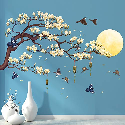 RAINBOW WSK RW-1005 White Magnolia Tree Branch Flying Birds Wall Stickers Peel and Stick 3D DIY Moon Wall Decals Removable Wind Chimes Art Wall Murals for Kids Offices Home Walls Bedroom Decaoration