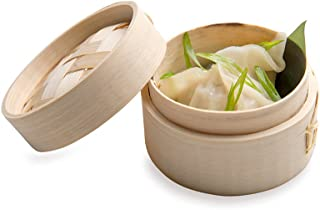 Bamboo Steamer - Mini Bamboo Steamer, Dim Sum Steamer - 3 Inches - Eco-Friendly, Biodegradable - 2 oz - 100ct Box - Restaurantware