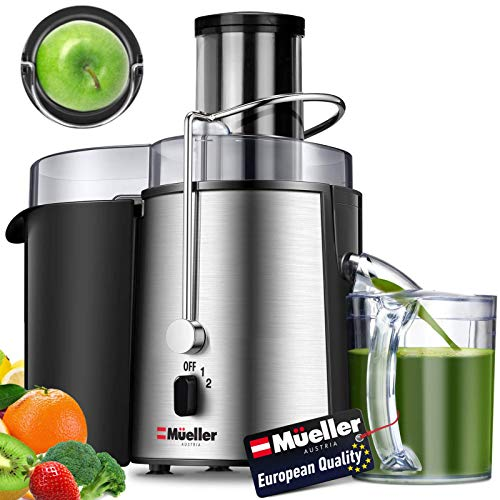 "Mueller Austria Juicer Ultra 1100W Power, Easy Clean Extractor Press Centrifugal Juicing Machine, Wide 3"" Feed Chute for Whole Fruit Vegetable, Anti-drip, Large, Silver"
