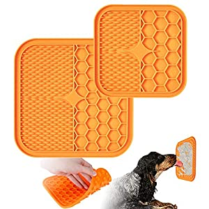 Dog Lick Mat,2 Pcs Lick Mat for Dogs(Large : 8.2×8.2 in,Small: 6×6 in), Dog Washing Distraction Device with Super Suction for Pet Bathing,Grooming etc,Reducing Boredom & Anxiety.(Orange)