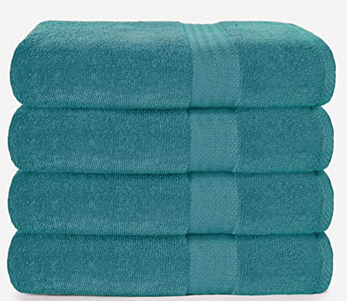 Glamburg Premium Cotton 4 Pack Bath Towel Set - 100% Pure Cotton - 4 Bath Towels 27x54 - Ideal for Everyday use - Ultra Soft & Highly Absorbent - Teal