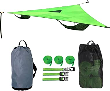 Giant Aerial Camping Hammock - Multi Person Portable Hammock 3 Point, Outdoor Triangle Hammock for Kids, Tree House Air Sky T