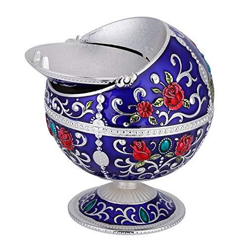 Cenicero Redondo, Yevenr Mini Cenicero Bola portátil Bola Redonda Cenicero Bola de cenicero de Metal para decoración de Regalo(Astilla Azul)