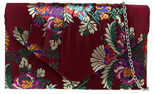 Girly HandBags Bolso de embrague barroco de flores, Burgundy,