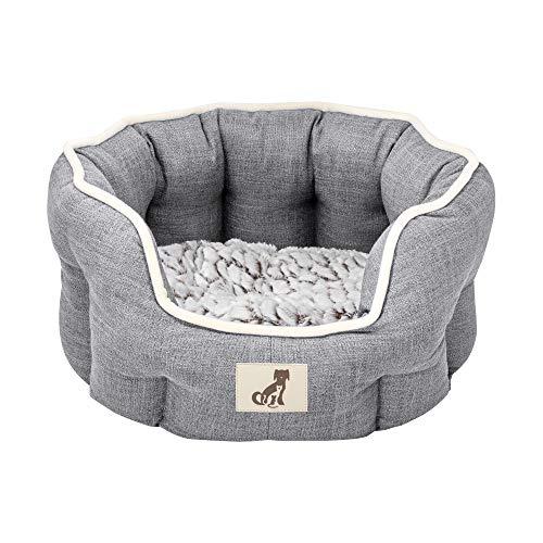 AllPetSolutions Alfie Range Beds Fleece Lined Warm Dog Bed, Medium, Grey
