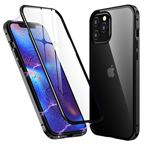 Clear Case for iPhone 12/iPhone 12 Pro 6.1 inch, with Two Side Tempered Glass Screen Protector, 360° Full Body Magnetic Adsorption Metal Bumper Cover (iPhone 12/iPhone 12 Pro 6.1 inch, Black)