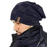 TOSKATOK Unisex Hommes Chemise en Laine doublée Chunky Knit Slouch Beanie Hat et Neckwarmer Snood pour Les Sports d'hiver en Plein air Ski, Randonnée