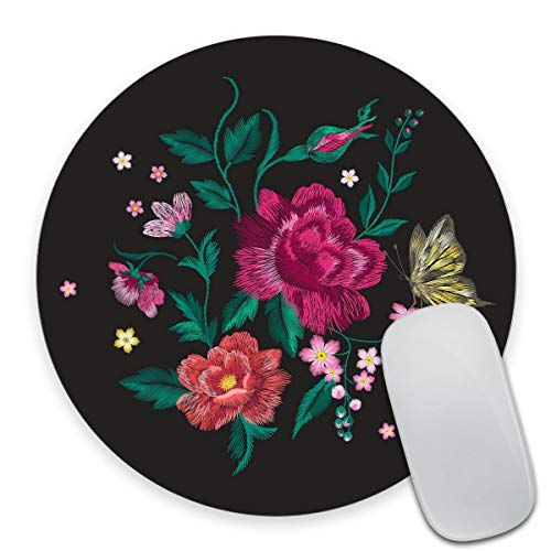 Smooffly Colorful Trend Floral Pattern with Butterfly Round Mouse Pad Custom,Traditional Folk Roses and Forget Me Not Flowers Bouquet Circular Mouse Pads for Computers Laptop