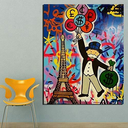 KWzEQ Das Unternehmen hält einen Ballon in der Hand, um das Moderne Wandkunstplakat der Leinwandmalerei im Wohnzimmer zu drucken,Rahmenlose Malerei,60x75cm