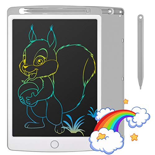 Tecboss LCD Writing Tablet Colorful Screen, Erasable Electronic Digital Drawing Pad Doodle Board, Gift for Kids Adults Home School Office (Gray, 8.5 inch)