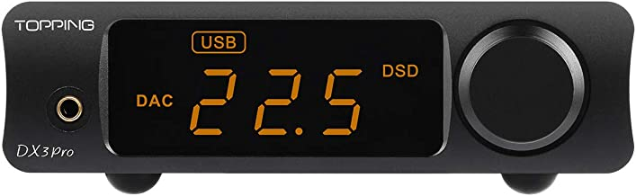 Topping DX3 Pro LDAC Headphone Amplifier DAC DSD512 PCM32bit/768kHz XMOS XU208 APTX USB Bluetooth Decoder Headphone Amplifier (Black)