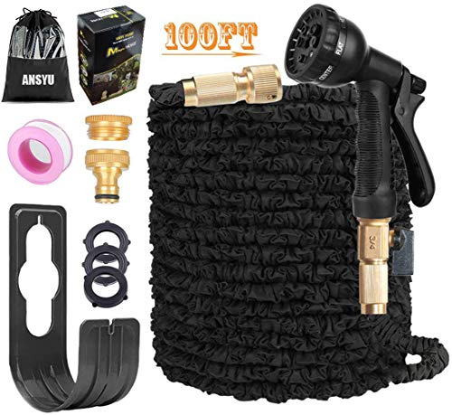ANSYU 100FT Expandable Garden Hose Pipe with 8 Function Spray Gun, 3/4'1/2...