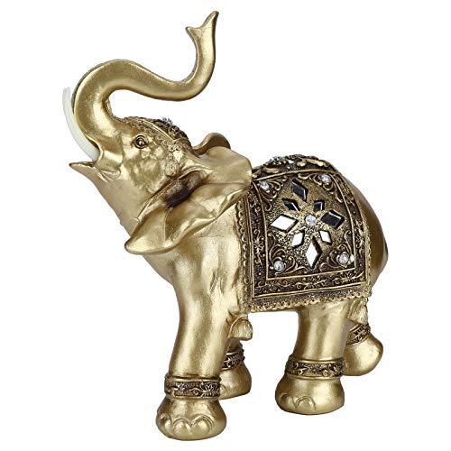 Estatua de Elefante Elegantes estatuas de Elefante de Resina Dorada Grandes Manualidades con Figuras de Elefante Feng Shui Adornos de la Suerte de la Riqueza para el hogar, la Oficina, el Regalo