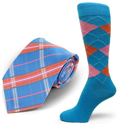 Spotlight Hosiery brand Men's Dress Socks &Necktie Set Bright Blue/Orange/Pink