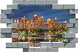 3D Broken Brick Bahamas Paradise Hotel Etiqueta De La Pared Poster Calcomanías Autoadhesivas De Pvc Impermeable Para El Dormitorio Decoración Del Hogar 50X70CM
