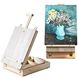 WELLAND Portable Desktop Easel for Painting, Adjustable Table Top Sketch Box Easel Storage Case for Kids Adults, Solid Pine Wood | 15' W x 10.65' D x 4.15' H