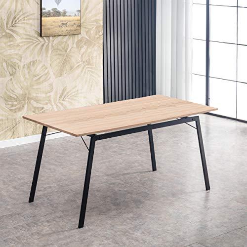 Mc Haus GASHIRA - Mesa Rectangular Comedor de madera Natural con estructura de Metal Negro mate, Mesa Cocina Salon Diseno Moderno 160x80x75cm